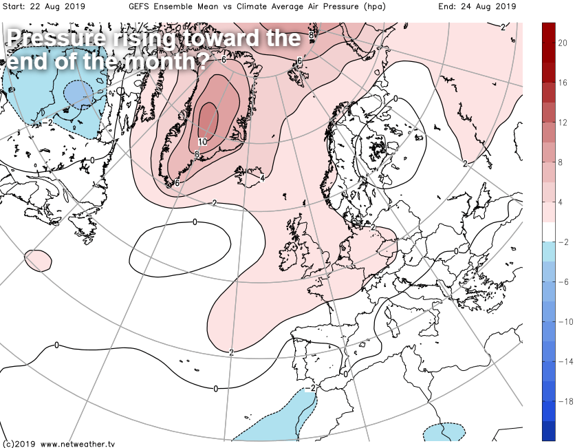Pressure rising toward the end of the month - nicer weather for the bank holiday?