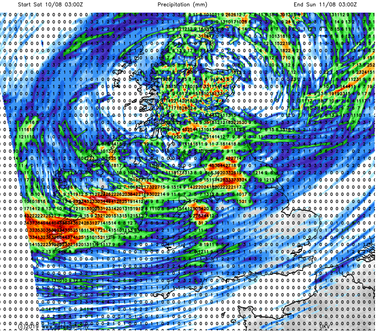 Heavy thundery showers bringing high rainfall totals on Saturday