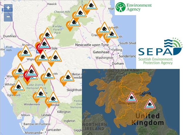 Flood warnings Scotland and Cumbria