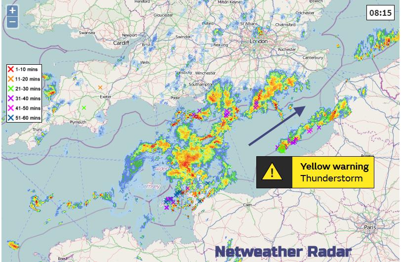 Netweather Radar showing thunderstorms