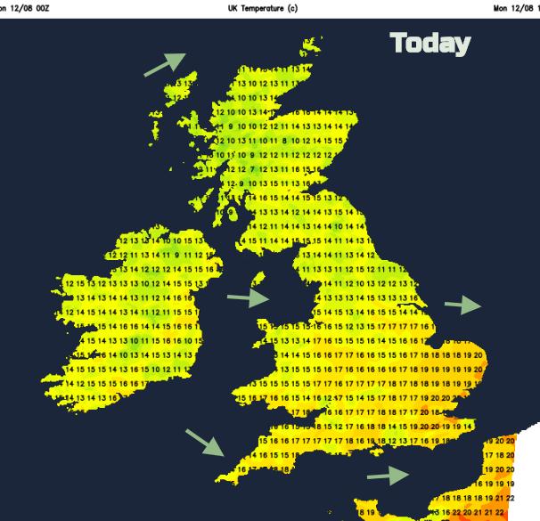 UK temperatures Monday