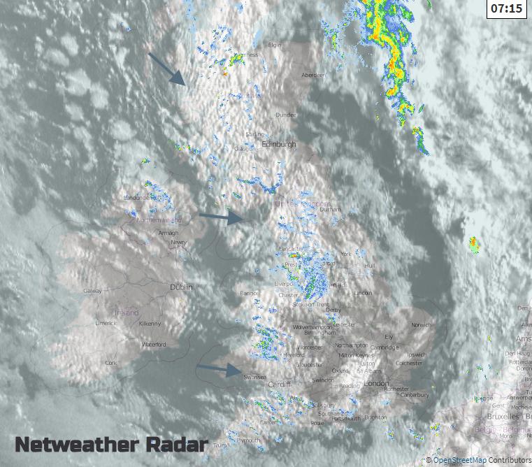 Visible satellite picture with UK rain radar