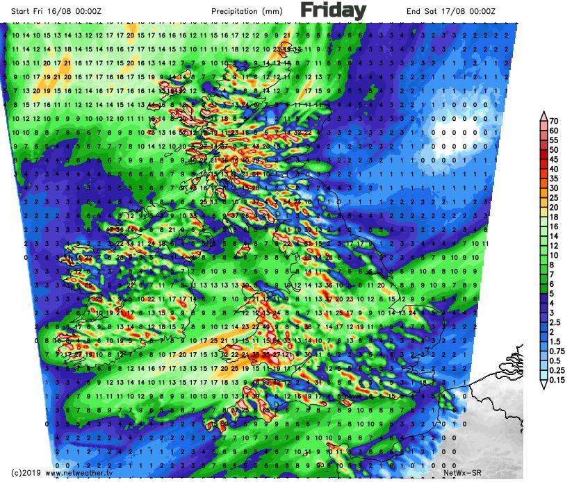 UK rain totals Friday 16th