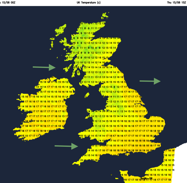 UK temperatures today