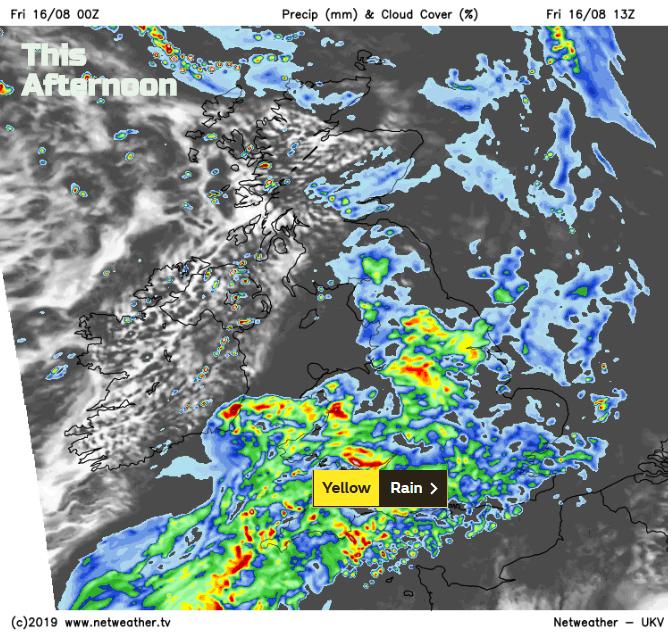UK rain Friday PM