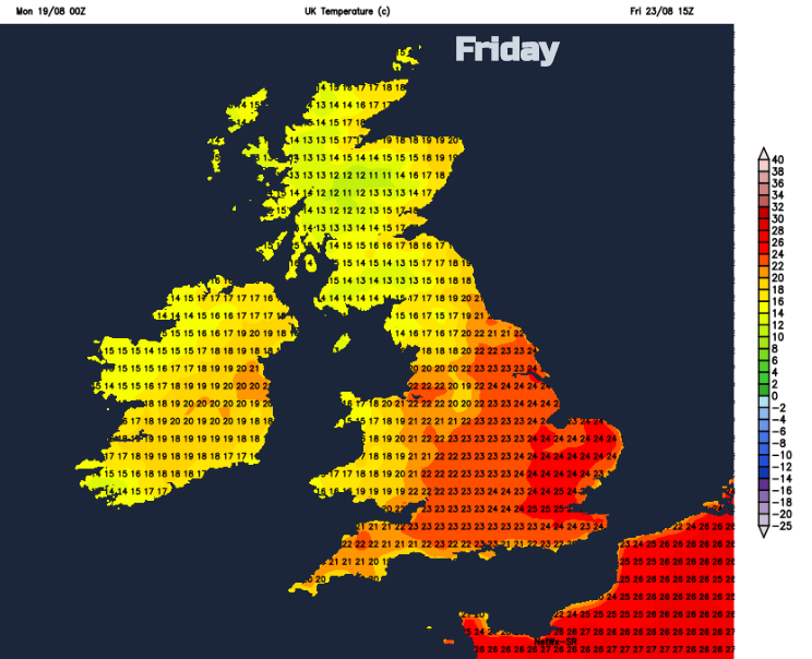 Temperatures UK friday