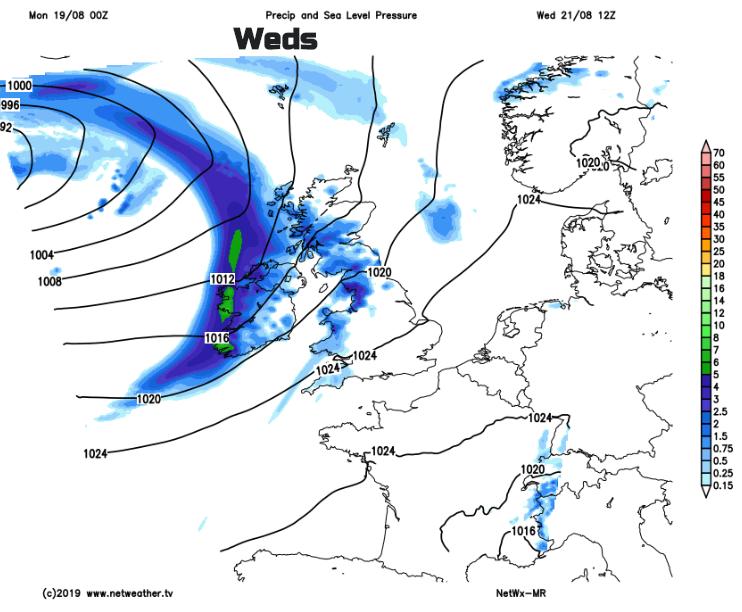 Pressure chart UK Wednesday