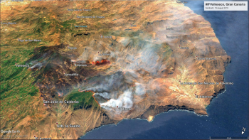Canary Islands - Gran Canaria Wildfires. Up in the mountains and forests not holiday coastal resorts