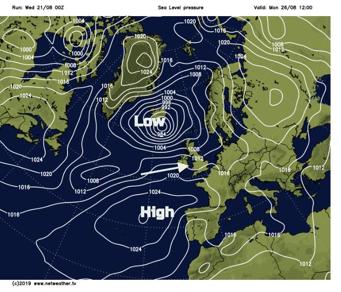 Bank holiday Monday surface pressure