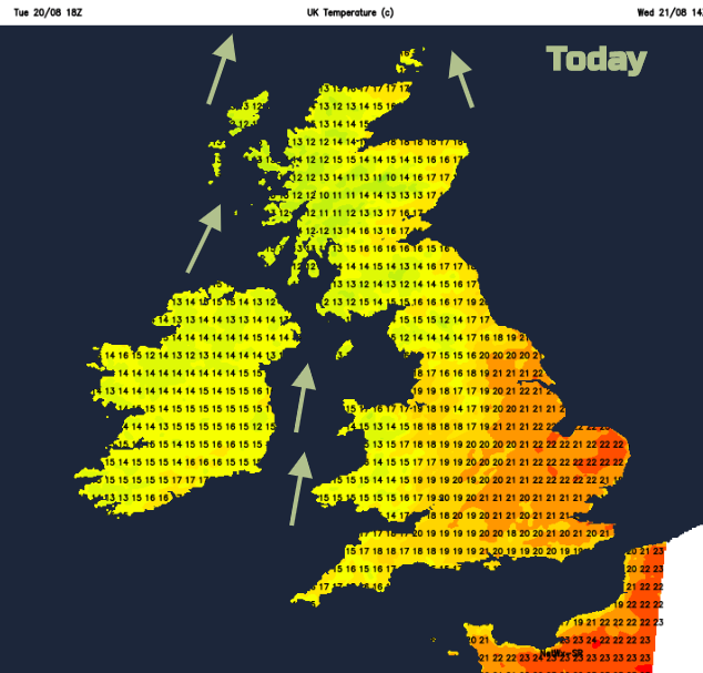 Today UK temperatures