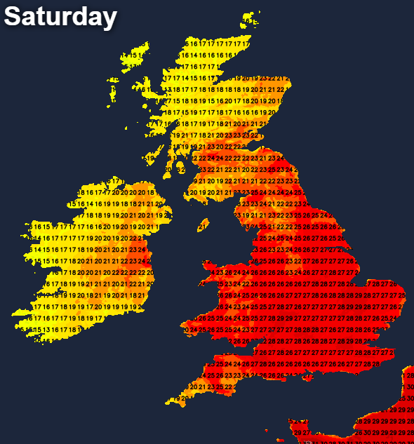 Temperatures on Saturday afternoon