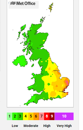 Air quality pollution levels UK