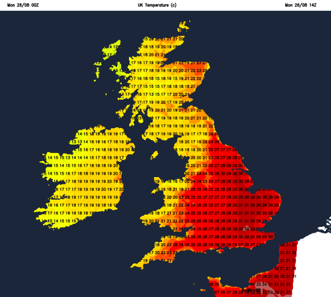 Air temperatures UK Monday