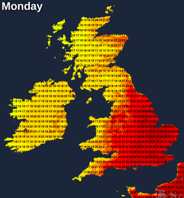 Another very warm or hot day on Bank Holiday Monday