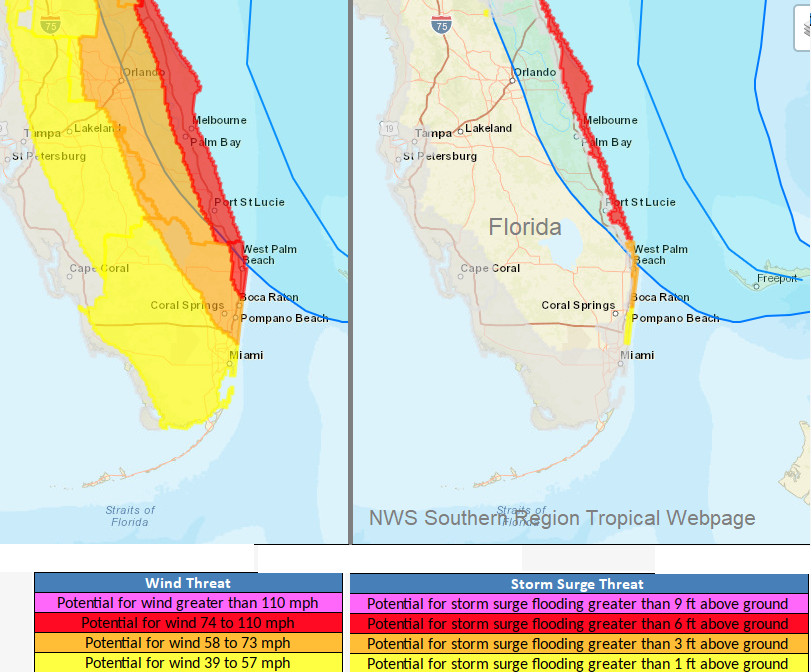 Florida foreast winds and storm surge Dorian