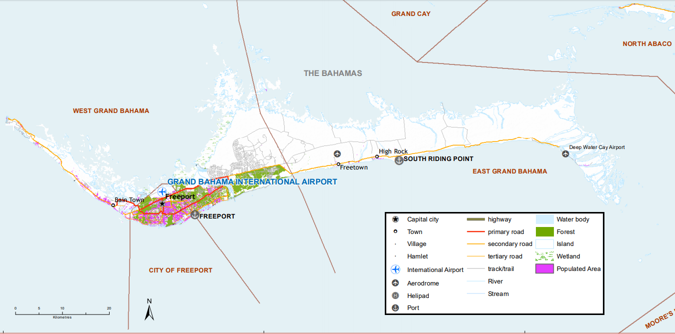 Map of north Bahamas populated areas