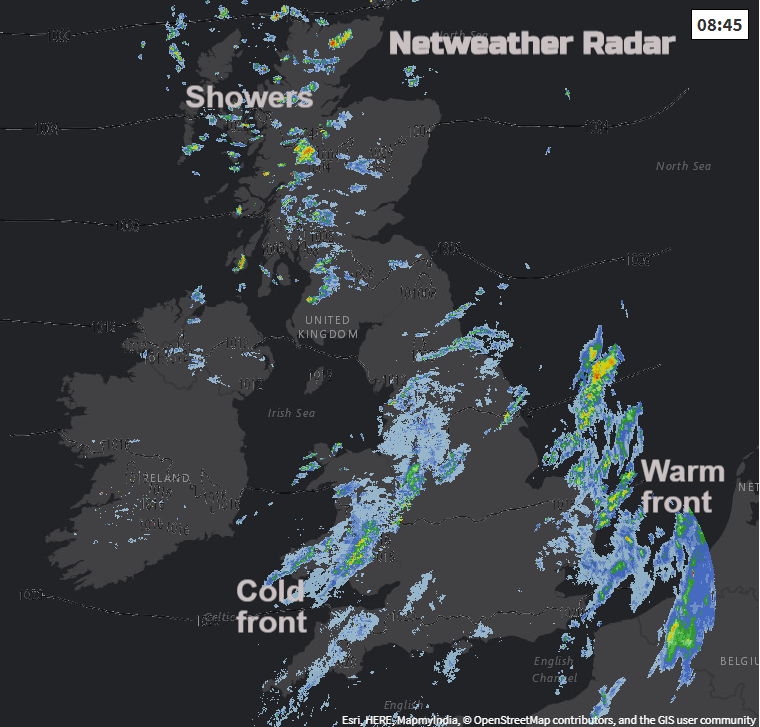 UK Radar showing cold and warm front