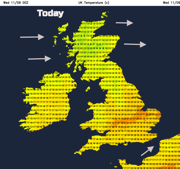 UK temperatures Weds