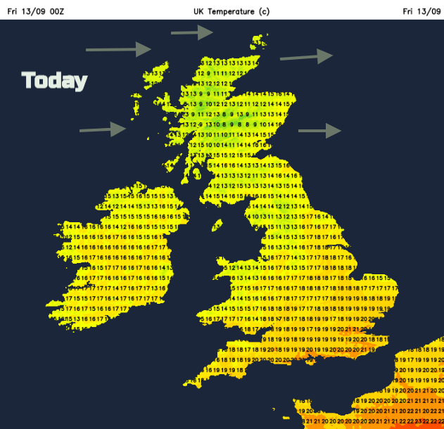 Today temperatures UK