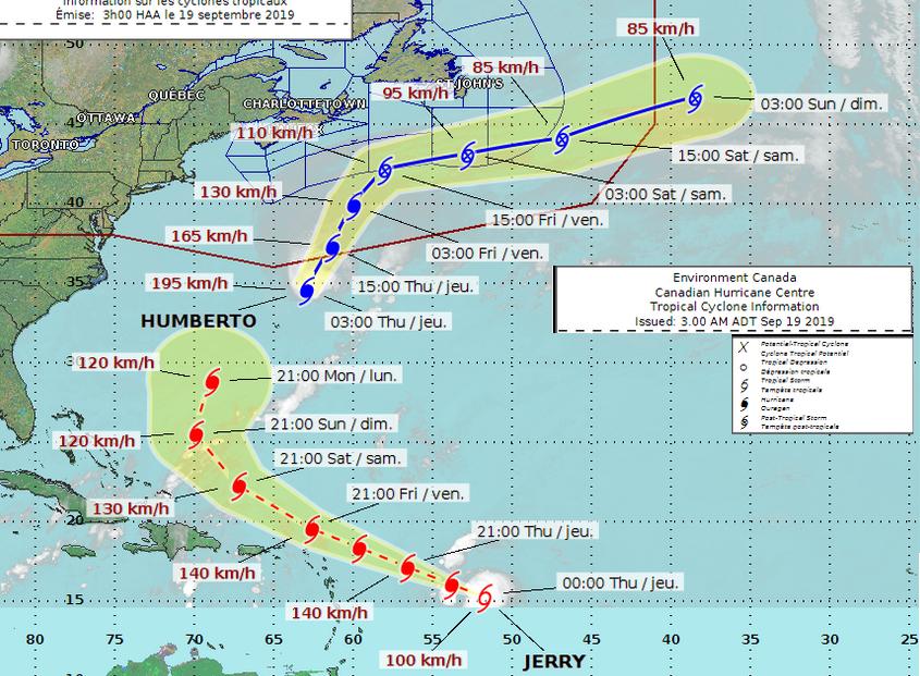 Hurricane humberto path Canada