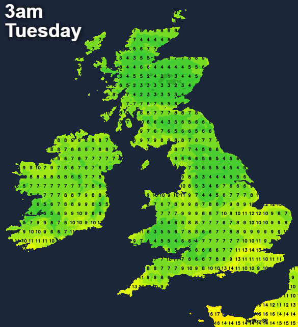 A cool night tonight with temperatures widely into single figures