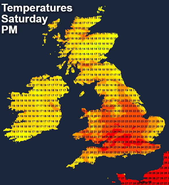 Temperatures on Saturday afternoon - mid-twenties for some
