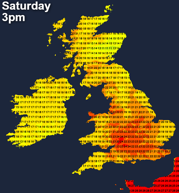Warm on Saturday with temperatures into the mid-twenties