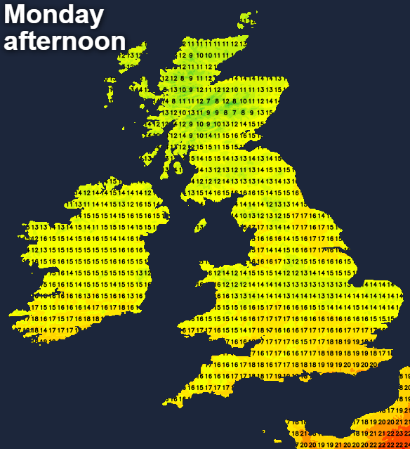 Cooler on Monday but still warm in the south