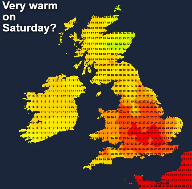 Very warm temperatures on Saturday?
