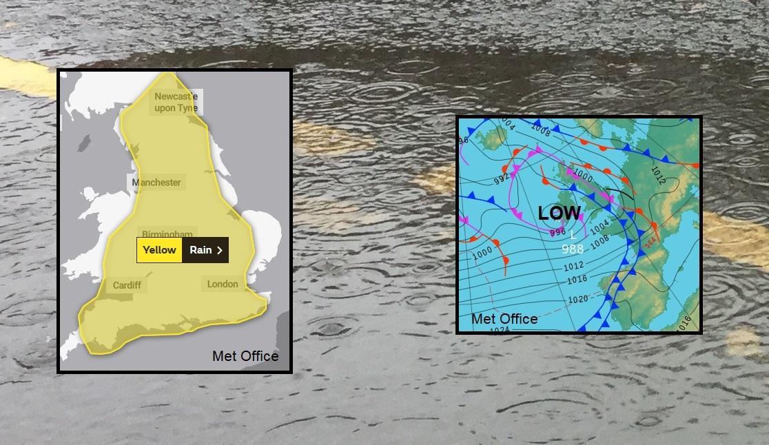 Heavy, thundery rain for Tuesday. September rain warnings, lightning and flood risk.