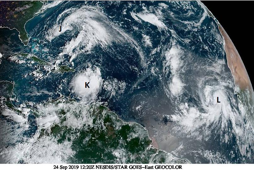 Late September tropical storms: Atlantic Jerry, Karen and Lorenzo and Arabian Hikaa