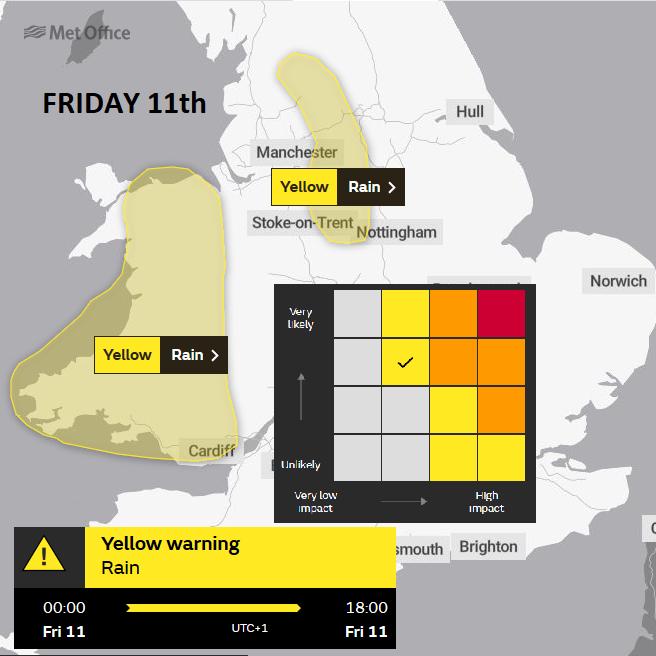 UK weather warnigns heavy rain Wales Pennines