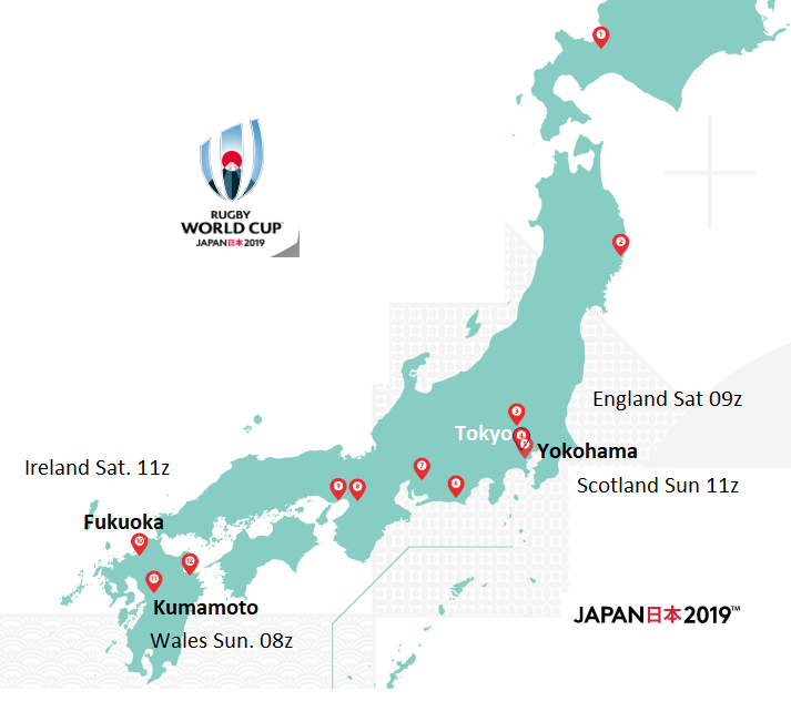 Map of rugby world cup matches and home nations