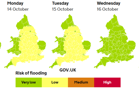 Low risk flooding Mon Tues England Wales