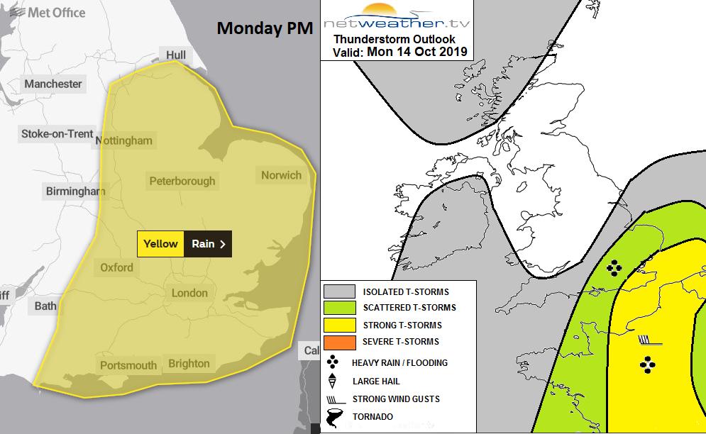 Heavy rain and thunderstorm warning UK Monday