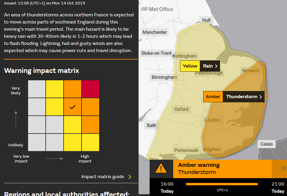 Amber warning for Thunderstorms England