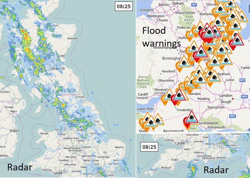 Netweather Radar with Env Agency flood warnings