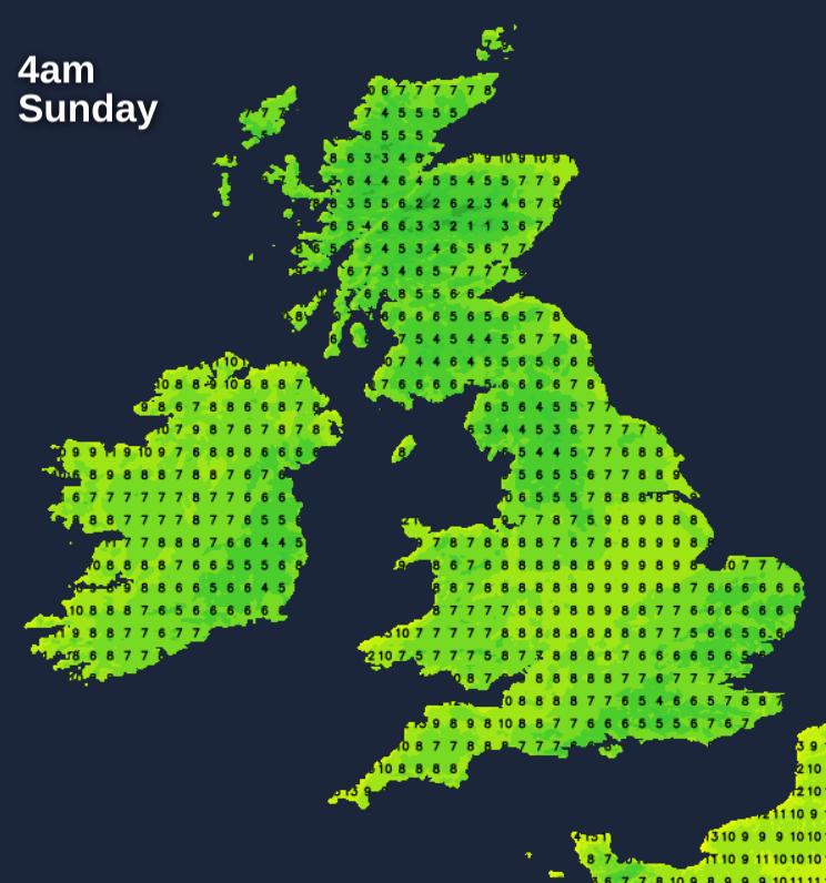 Temperatures Sunday at 4am