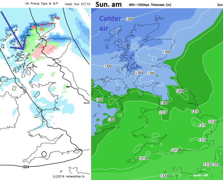 Snow showers Scotland Sunday