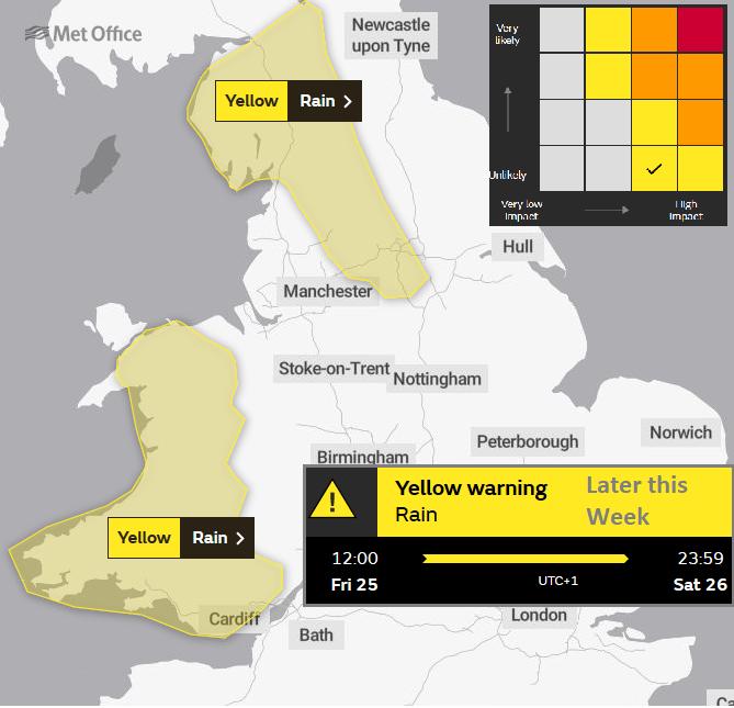 Yellow warning rain UK