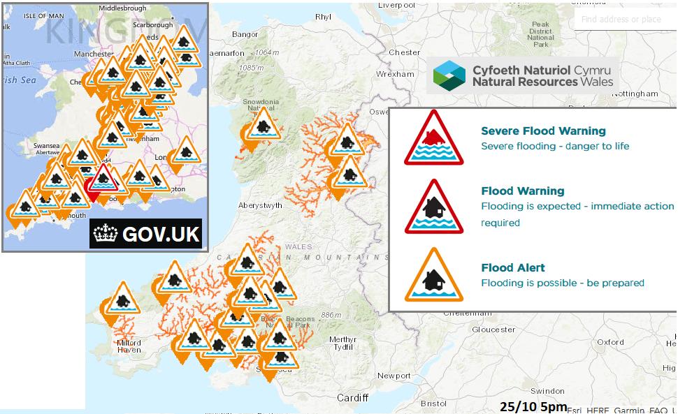 Flood alerts Wales England