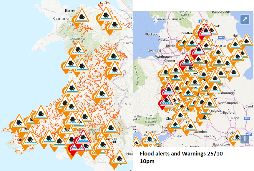 Flood alerts and warnings England and Wales
