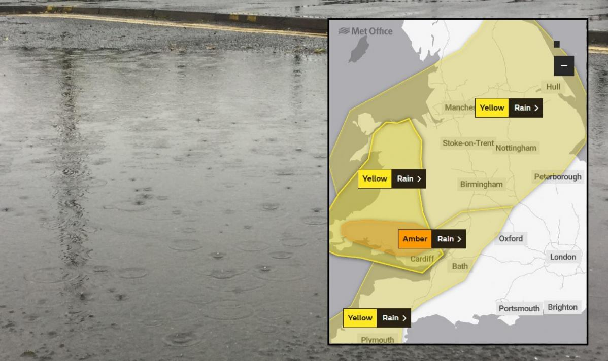 Late October heavy rain and flooding with an Amber warning for south Wales