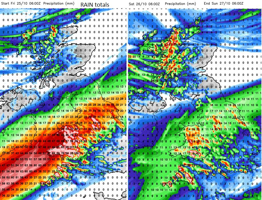 Rainfall forecast totals UK
