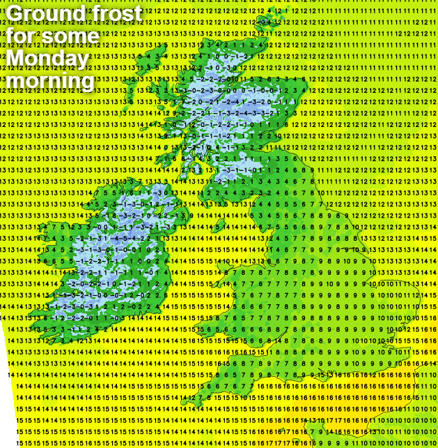 Ground frost in the north and west