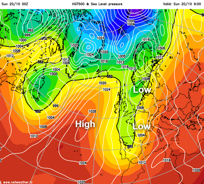 High pressure nosing in from the west today but low pressure still close to the east