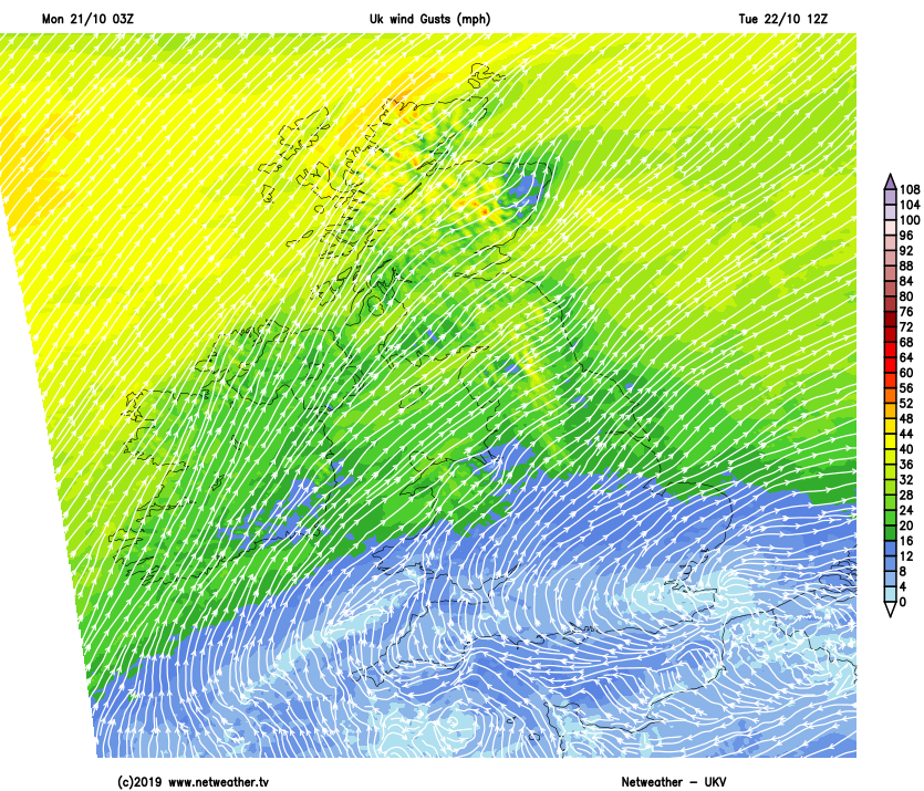 Windy in the north on Tuesday