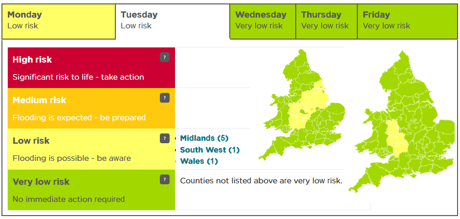Five day flood warning England and Wales
