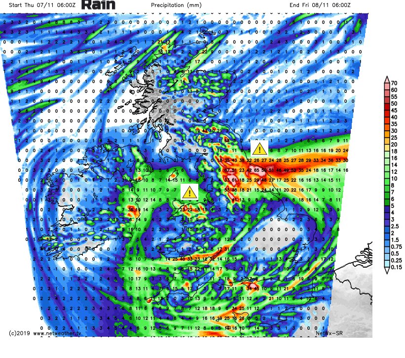 Rainfall totals forecast Thursday Friday UK
