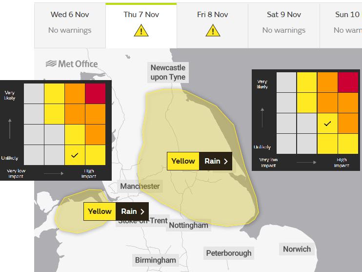 UK Yellow rain warning England and N.Wales